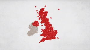 Letters coming together to form a map of the UK
